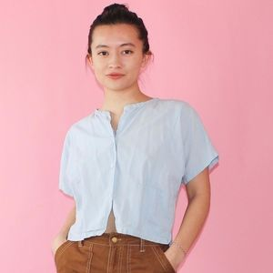 (654) Cropped Cotton Summer Blouse